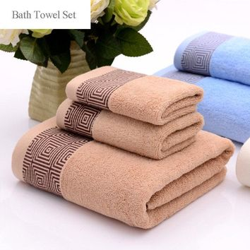 3pcs Pure Cotton Thicken Bath Towel Set Water Absorbent Face Towel Bathroom Hotel