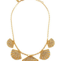 Kate Spade Shore Thing Clam Collar Necklace Clear/Gold ONE