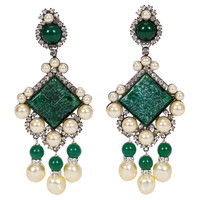 Vrba Emerald & Pearl Drop Clip Earrings