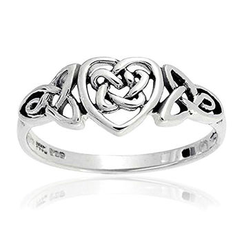 Christmas Gifts Sterling Silver Irish Celtic Knots Heart Promise Ring