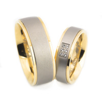 Gold brush finish crown titanium wedding bands set