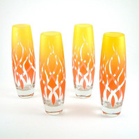 Etched Glass Stemless Flutes Strands design Set by woodeyeglass