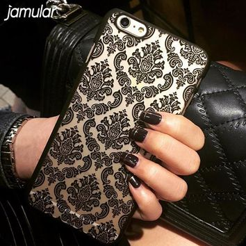 Hard Plastic Case For iphone 7 6 6S 8 Plus Damask Vintage Flower Pattern Cover Case For  iPhone 8 6 6S 7 Plus 5S SE 4S Cover