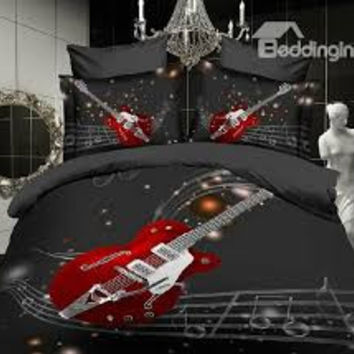 3d Oil Painting Music Note, the Guitar 4pcs Bedding Sets,cotton queen