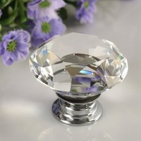 Floureon 8PCS Diameter 40mm Clear Crystal Glass Cabinet Knob Cupboard Drawer Pull Handle, Come with 3 kinds of Screws