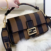 Fendi New fashion stripe canvas shoulder bag crossbody bag handbag