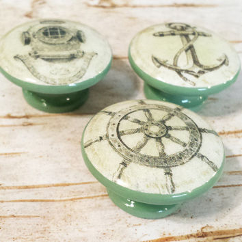 Handmade Nautical Knobs Drawer Pull Set,  3 Sage Green Vintage Style Knobs, Under the Sea Dresser Knob Pulls, Sailing, Anchor, Made To Order