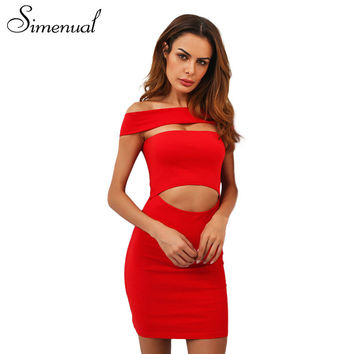 Simenual Cut out off shoulder summer dress 2017 slash neck sexy red bodycon dresses women clothes casual slim short party dress