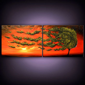 art original painting abstract tree painting minimalist impressionist Original Painting landscape 56 x 22
