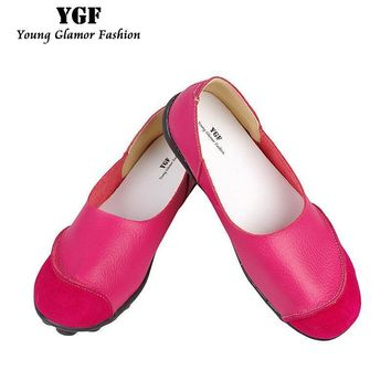 YGF 2017 Spring Womens Ballet Flats Loafers Soft Leather Flat Women's Shoes Slip on Ge