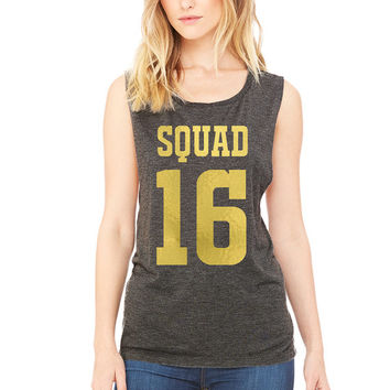 Womens Jersey Style Squad Shirt Muscle Tee Tank Bridal Party Bachelorette Party Shirt Womens Tank Top TShirt Team Jersey Tank