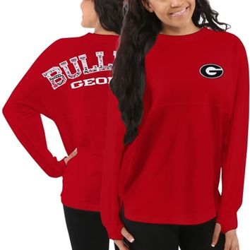 Georgia Bulldogs Women's Aztec Sweeper Long Sleeve Oversized Top - Red