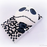 Skeleton decoden business card case, black and white gothic accessory from celdeconail