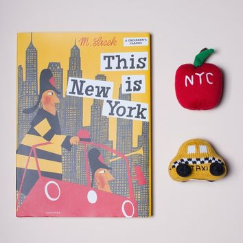 "Baby Gift Set Including ""This is New York"" Book, Organic Baby Taxi & Big Apple Rattles"
