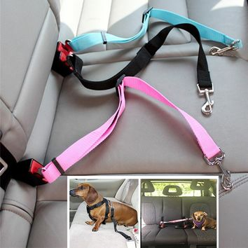Animal Dog Pet Car Safety Seat Belt Harness Restraint Lead Leash Travel Clip Dogs Supplies Accessories for Travel Seat Belts Col