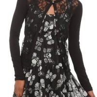 Too Fast Skull Floral Lace Front Cardigan