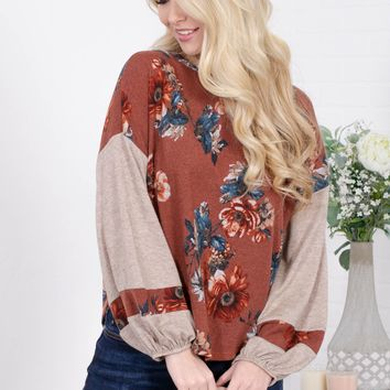 Jersey Rust Floral Top