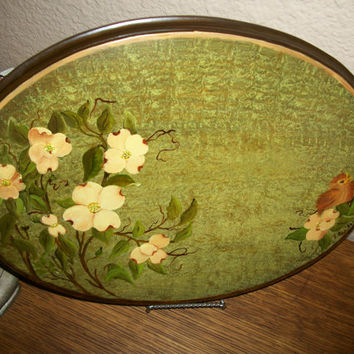 Dogwood Tree Floral Wall Hanging Picture Hand Painted Bird and Yellow Flowers Oak Wood Oval Plaque Vintage Home Decor