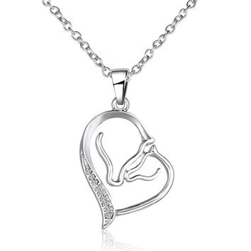 New Heart Love Austrian Crystal Rhinestone Pendant Necklace Animal Horse Head Necklace Women Jewelry Mom&Daughter Mother's Gift