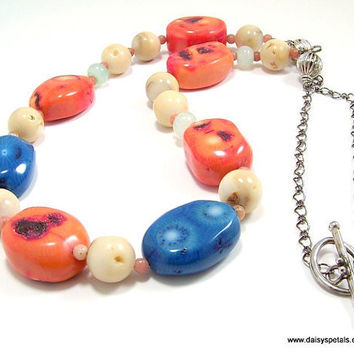 OOAK Handmade Peacock Blue and Pumpkin Orange Chunky Coral Necklace with Silver Toggle