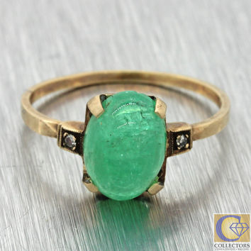 1920s Antique Art Deco 10k Solid Yellow Gold Cabochon Emerald Diamond Ring