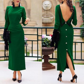 chic classy backless dresses Women Ladies Solid Color Round Neck Long Sleeve V-back button split Long Dress vogue Party Clothes