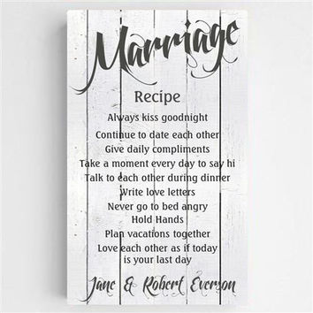 Marriage Recipe Canvas Sign