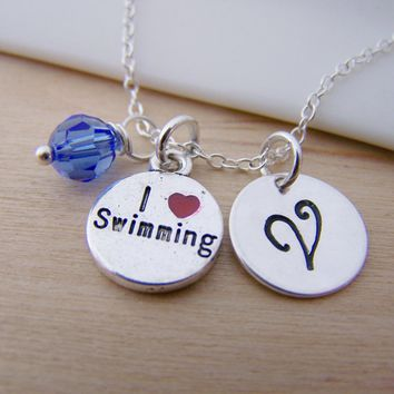 Swimming Charm Swarovski Birthstone Initial Personalized Sterling Silver Necklace / Gift for Her