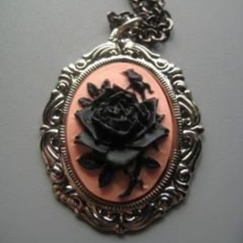 Cameo Necklace Black Rose Victorian Jewelry by SilverTrumpet
