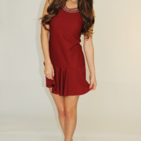 Cutie With A Collar Dress: Maroon