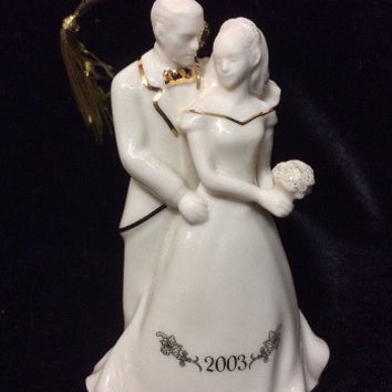 LENOX 2003 Always and Forever Bride and Groom Christmas Ornament