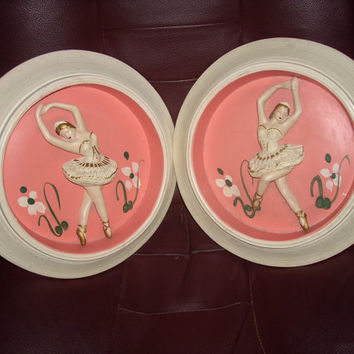 2   chalkware Ballerina wall plaques vintage