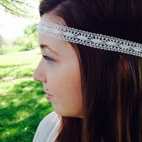 Boho Headband-Hippy Headband-Wedding Headband-Boho Hair Accessory-Head Wrap-Festival Headband-White Headband-Boho Style Hair Headband