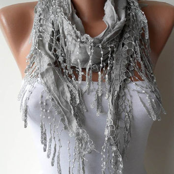 Light Grey Shawl / Scarf with Lace Edge