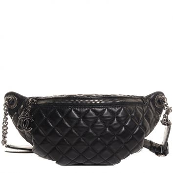 CHANEL Lambskin Quilted Banane Waist Bag Fanny Pack Black CC