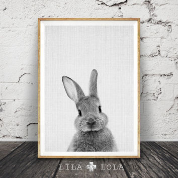 Rabbit Print, Woodlands Nursery Art, Rabbit Wall Decor, Black and White Baby Animal Print, Printable Black and White Bunny, Digital Download
