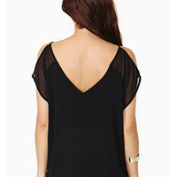 Black V-Back Chiffon Off-Shoulder Shirt