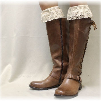 SWEET MAGNOLIA lace boot sock - ivory