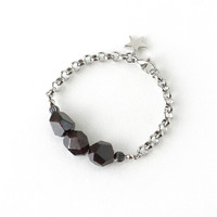 Raw Garnet Stone Bracelet, January Birthstone Jewelry