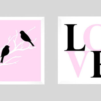 Love Birds Wedding Tree, Wedding Gift, Anniversary, Custom Wedding Gift, Modern Newlywed Print, LOVE Birds Print, CUSTOMIZE your COLORS