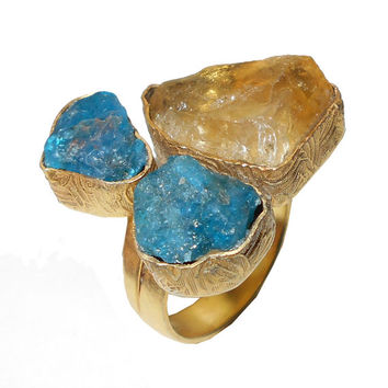 Raw Apatite Ring, Citrine Ring, Yellow Gold Vermeil, Large Stone Ring, Fashion Ring, Unique Design Ring, Adjustable Ring, Gold Ring Jewelry