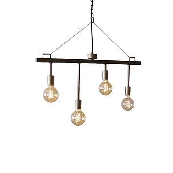Raw Metal and Brass Hanging Pendant with Four Light Fixtures - 30-in