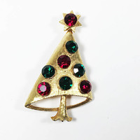 Gold Tone MYLU Christmas Tree Brooch Vintage 1960s 1970s Designer Signed Large Green Red Rhinestones Holiday Pin Collectible Gift for Her