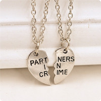 Fashion Partners Broken Heart Pendant Necklace Party Jewelry Gift 2PC/Set Sliver Friendship Necklace
