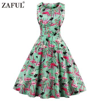 ZAFUL Plus Size 4XL Women Retro Dress 50s 60s Vintage Rockabilly Swing Feminino Vestidos Floral Pattern Print 2017 Party Dress