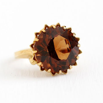 Simulated Citrine Ring - Vintage 10k Yellow Gold Filled Orange Brown Stone Statement - Retro 7 3/4 1950s Signed C&C Clark Coombs Jewelry