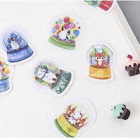 40 cute animal Water Globe sticker music globe christmas snow globe penguin polar bear rabbit hedgehog mini glass globe die cut sticker