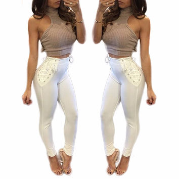 Fashion White Pencil Pants High Waist Sexy Bandage Leggings Slim Stretch Bodycon Capri Fitness Women Punk Rock Trouser Sportwear