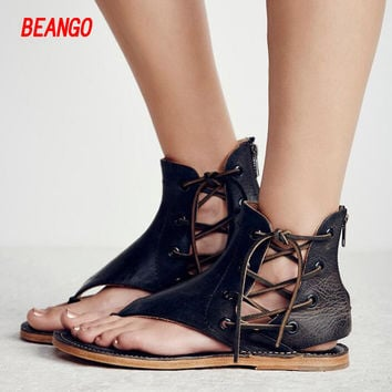 BEANGO 2017 new summer women sandals fashion all-match sexy zipper pinch toe slip-on flats women shoes leather casual shoes