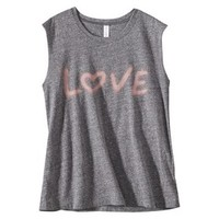 Xhilaration® Junior's Love Graphic Muscle Tank - Gray